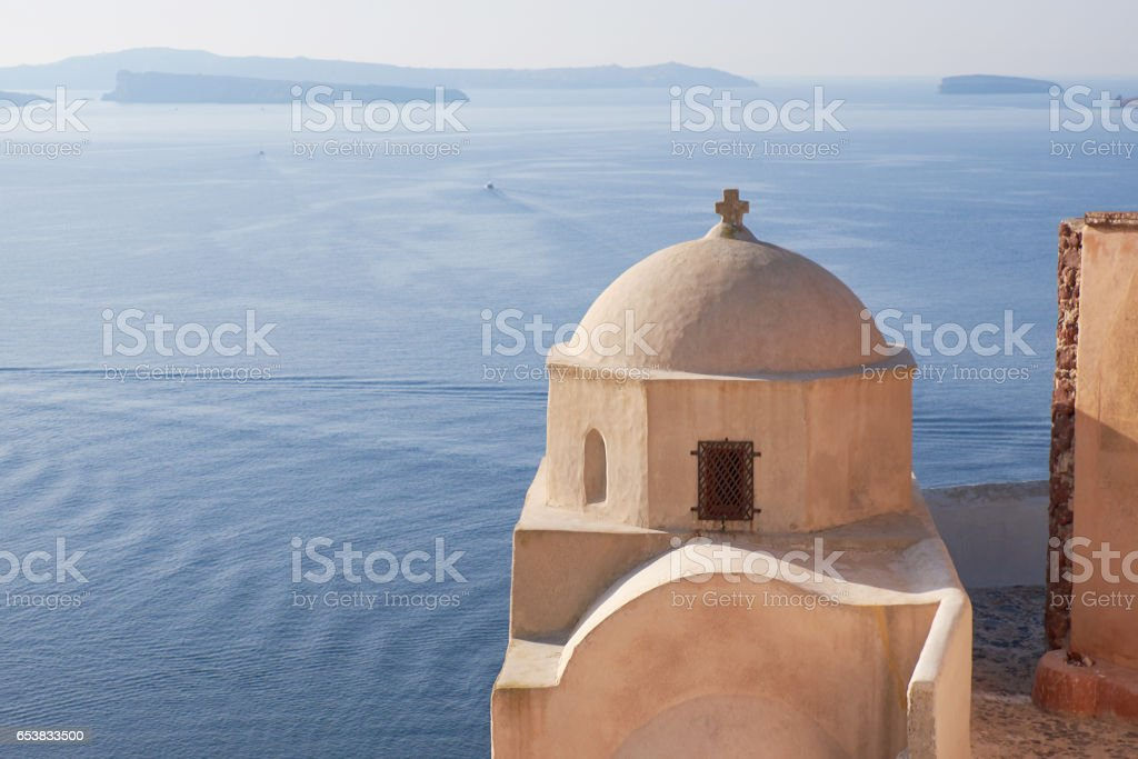 Byzantine Castle Ruins in Oia village, Santorini, Greece stock photo