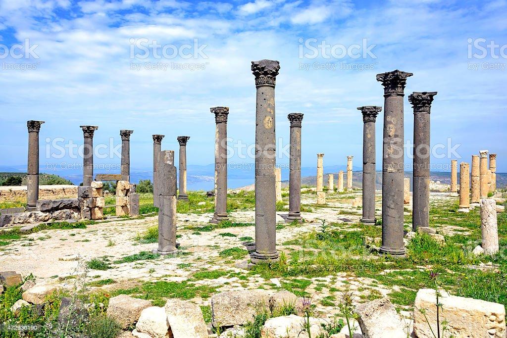 Byzantine Church terrace at Umm Qais, Jordan stock photo