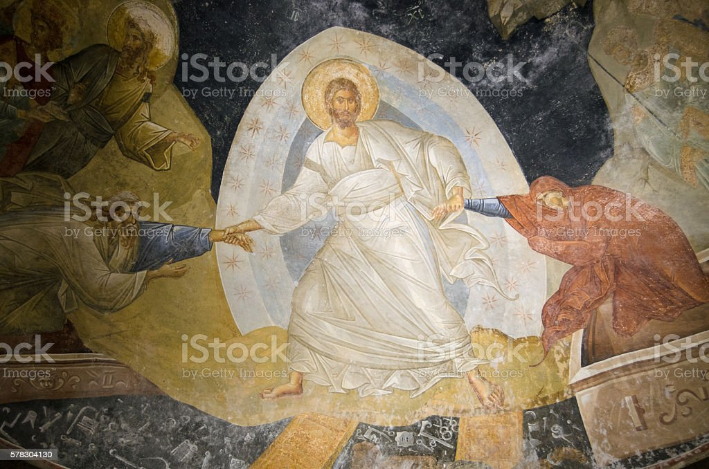 Byzantine fresco of Christ resurrecting Adam and Eve stock photo