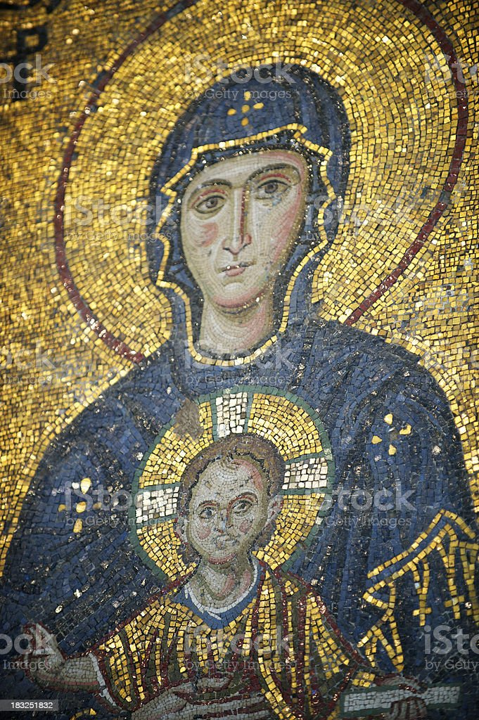 Byzantine Gold Mosaic Portrait of Virgin Mary and Baby Jesus royalty-free stock photo