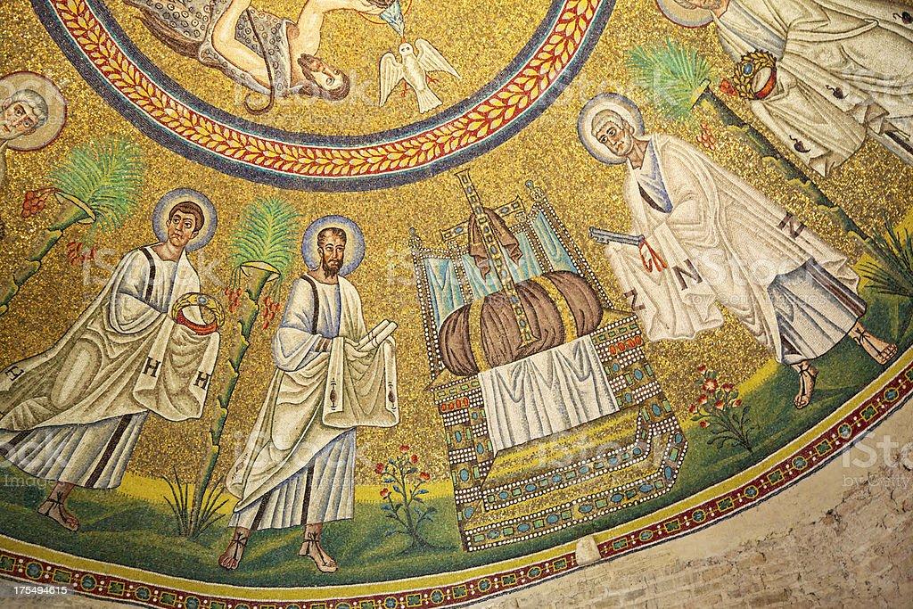 Byzantine mosaic in Arians Baptistery. Ravenna. Italy. stock photo