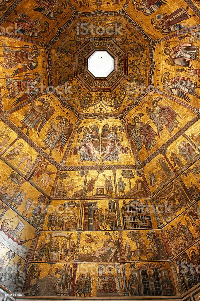 Byzantine mosaic in baptistery royalty-free stock photo