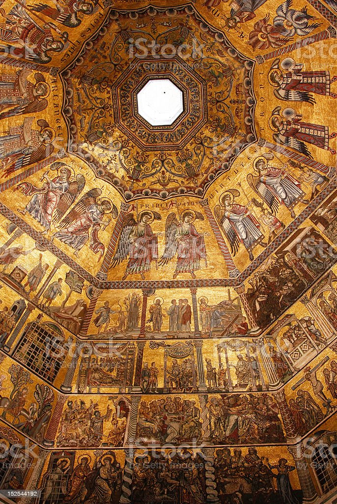 Byzantine mosaic in baptistery stock photo