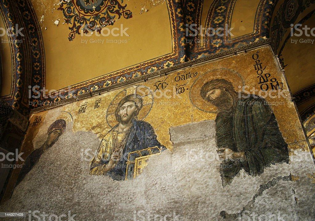 Byzantine mosaics in the interior of Hagia Sophia,Istanbul, Turkey royalty-free stock photo