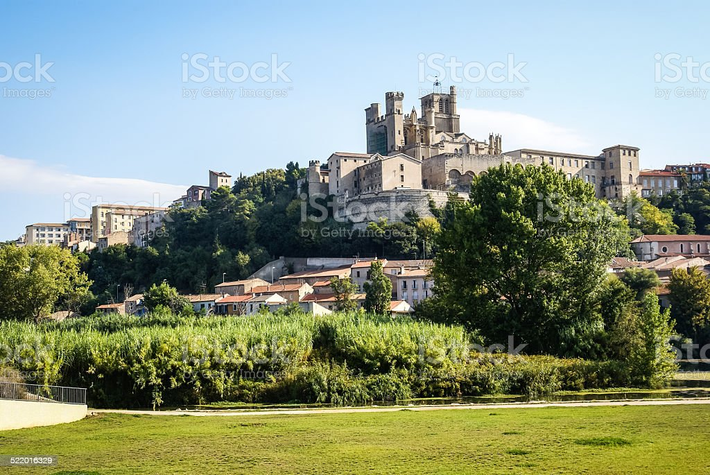 B?ziers - view of the city across the river, France stock photo