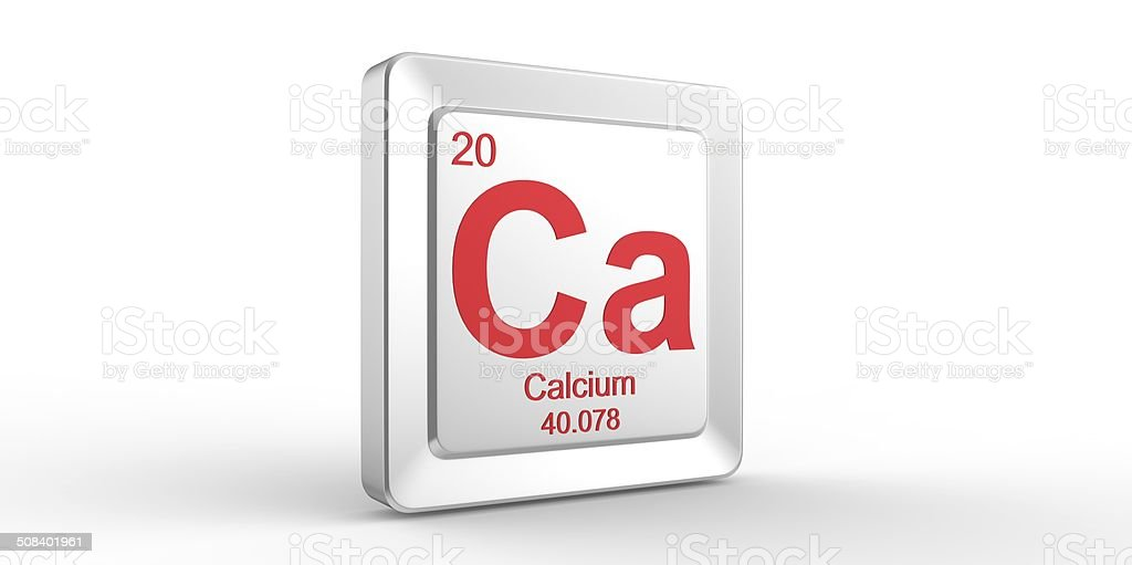 Ca symbol 20 material for Calcium chemical element stock photo