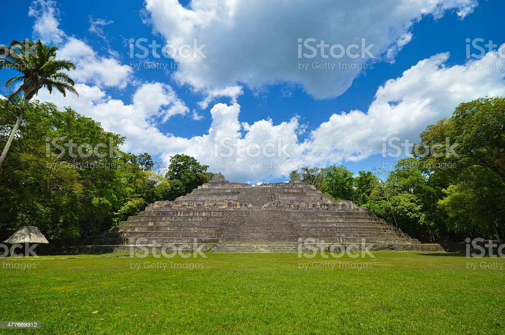 Caana pyramid at the Caracol archeological site of Mayan civilization stock photo