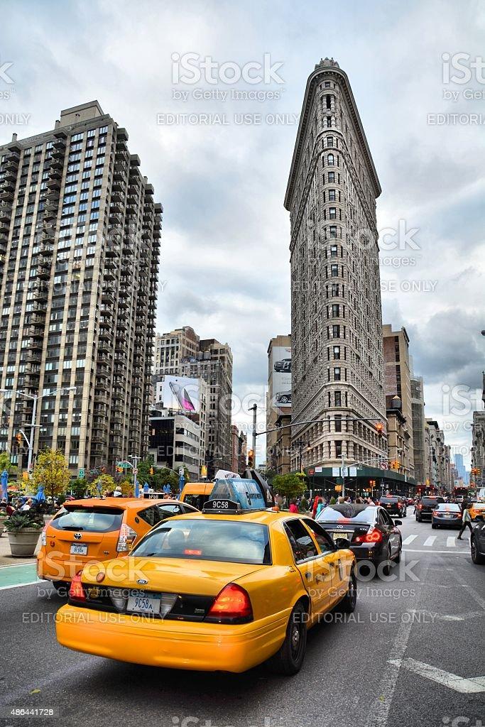 NYC cab and Flatiron stock photo