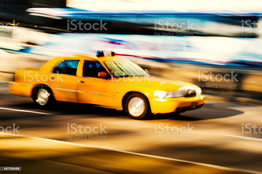 Cab at blurred motion stock photo