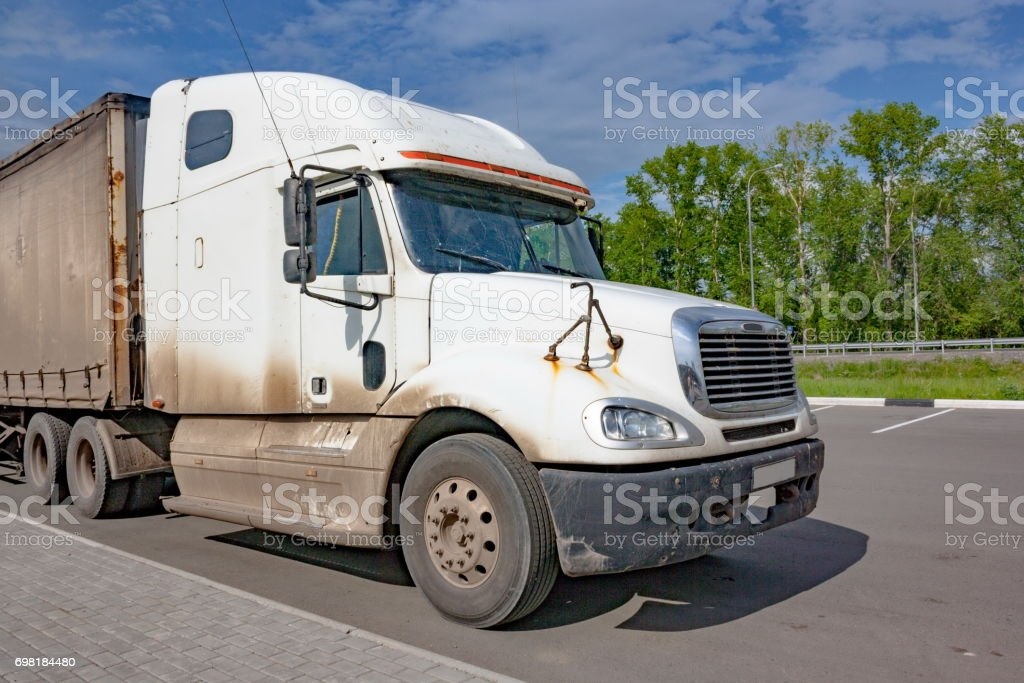 Cab of a large white truck stock photo