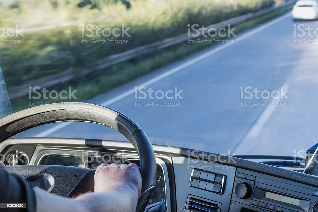 Cab of the truck while driving stock photo