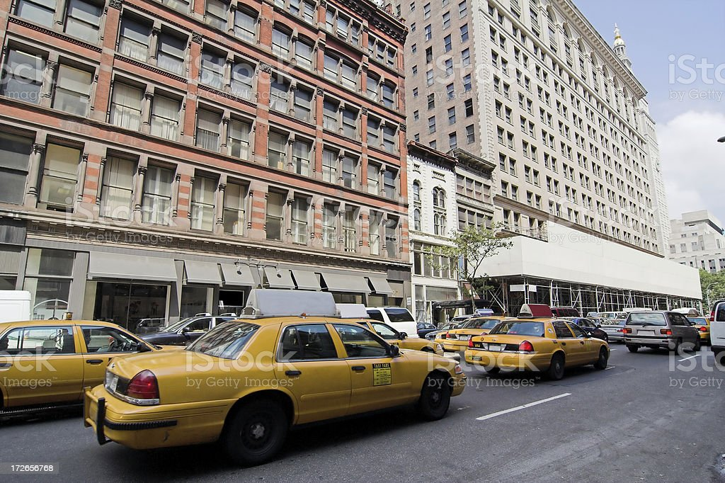 Cab Traffic in Chelsea NYC royalty-free stock photo