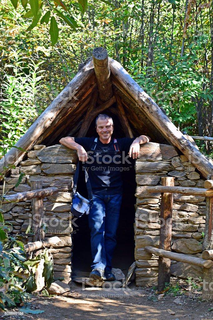 Cabaña en el bosque, montañas del Montseny stock photo