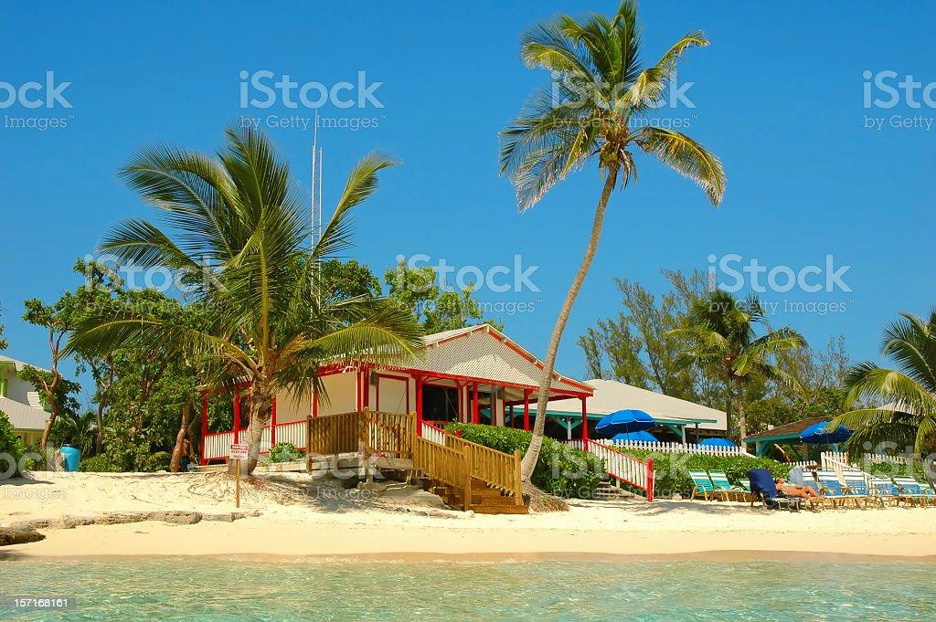 cabana on the beach stock photo