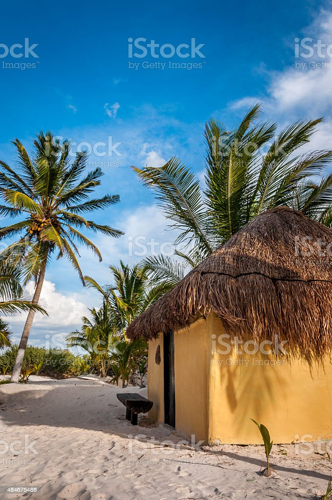 Cabanas huts on Caribbean white sand beach, Tulum, Mexico (Yucatan) stock photo