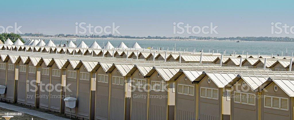 Cabanas on Lido royalty-free stock photo