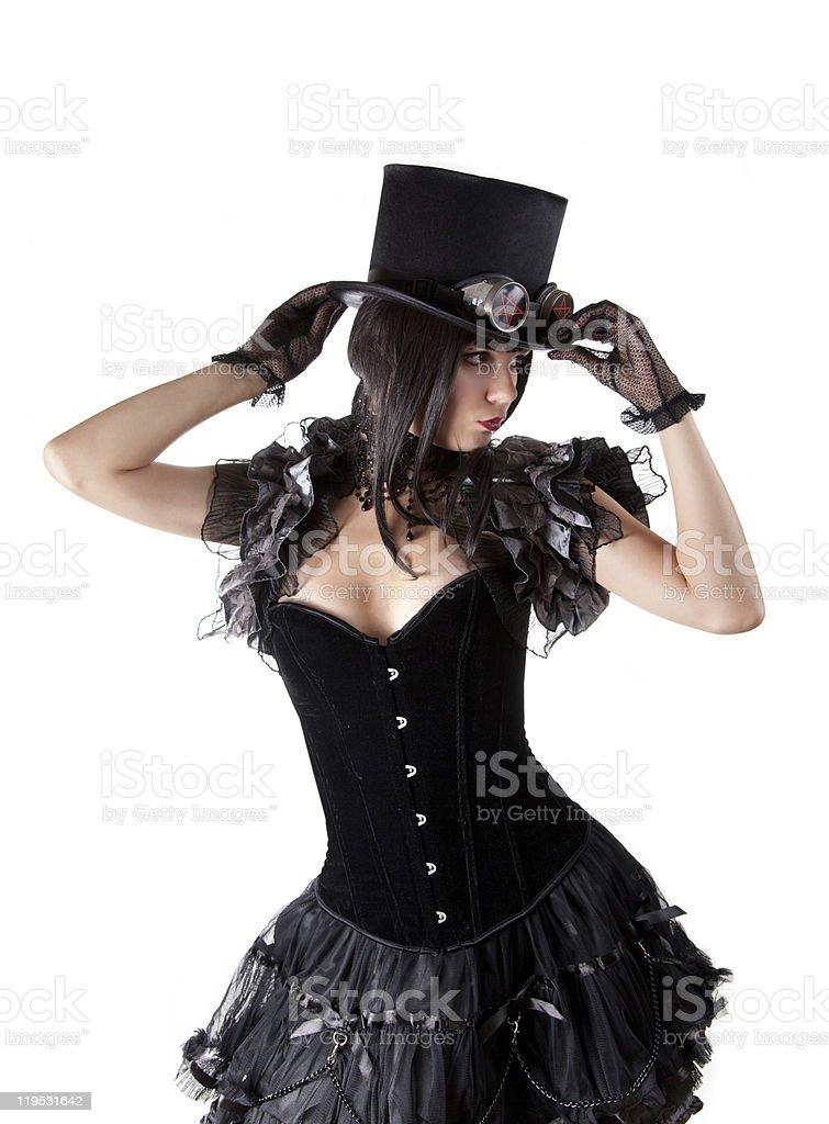 Cabaret girl in top hat stock photo