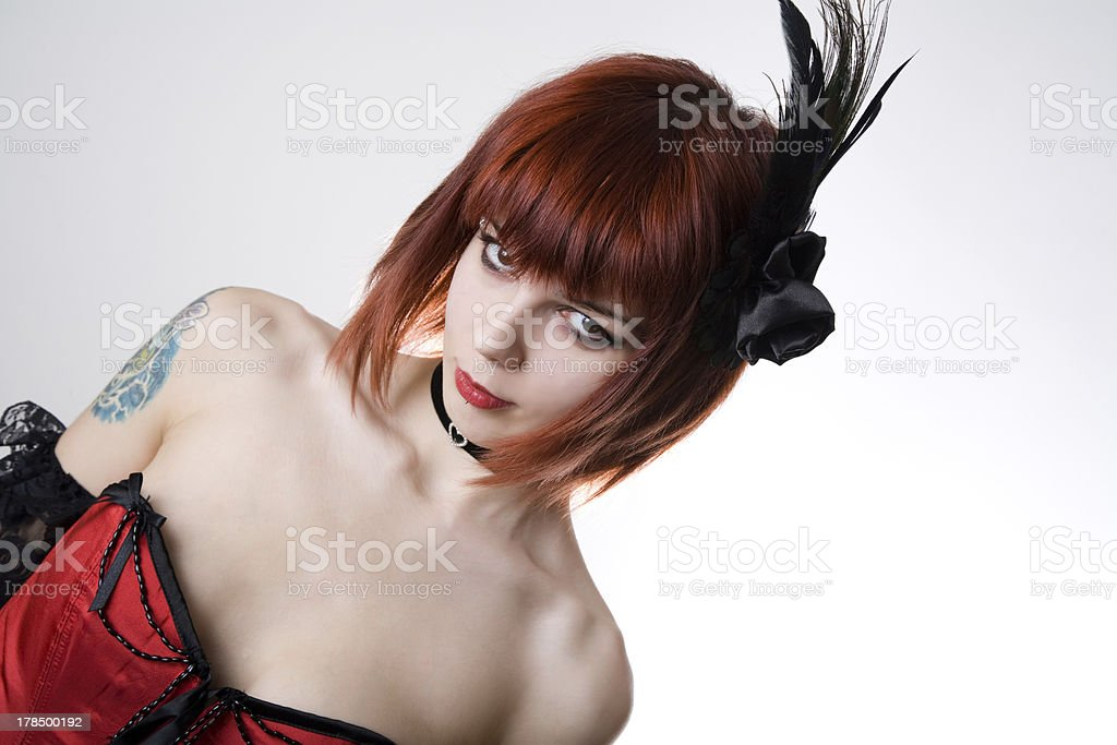 Cabaret girl with hair fascinator royalty-free stock photo