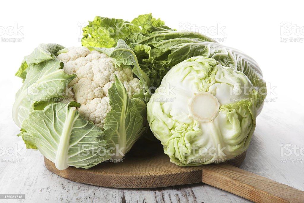 Cabbage and cauliflower. stock photo