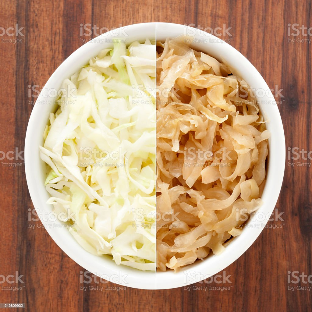 Cabbage and sauerkraut composition stock photo