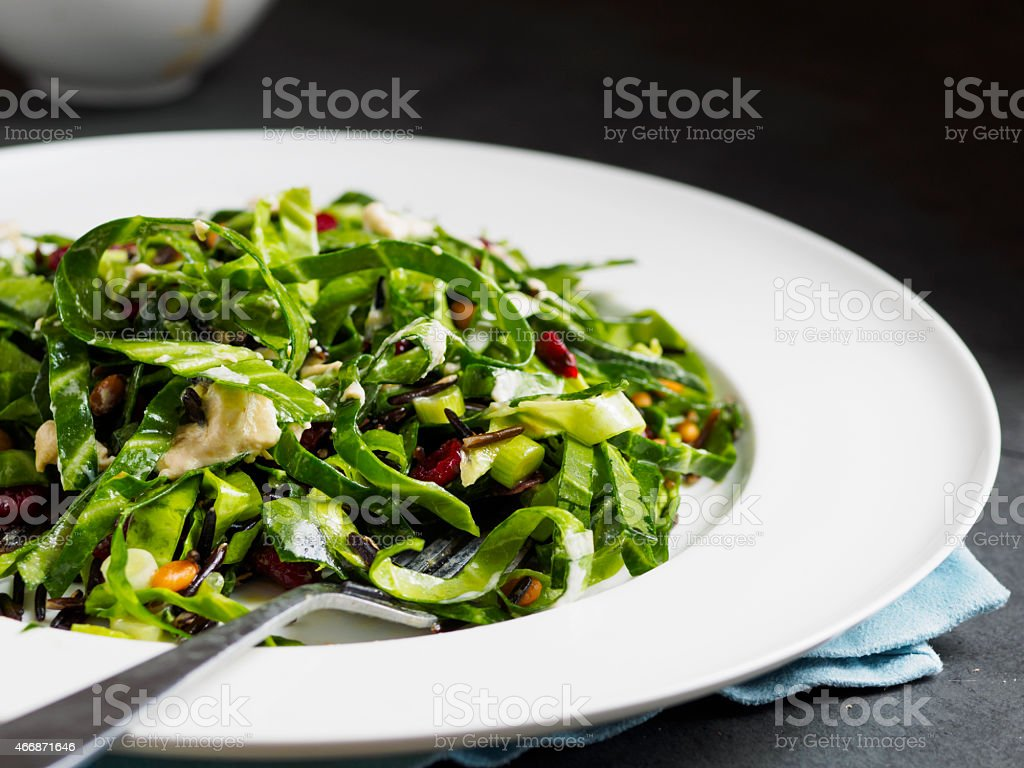 cabbage and wild rice salad stock photo
