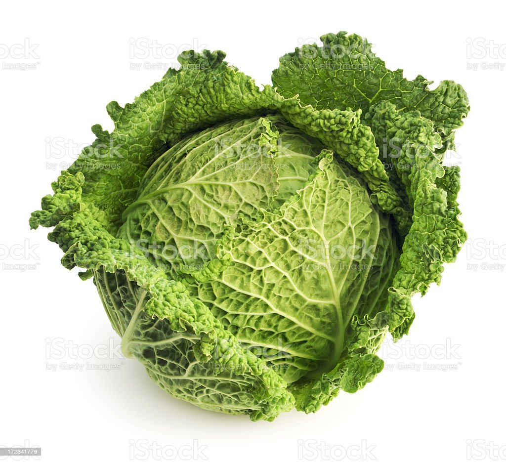 Cabbage Leaf Fresh Green Garden Vegetable Isolated on White Background stock photo