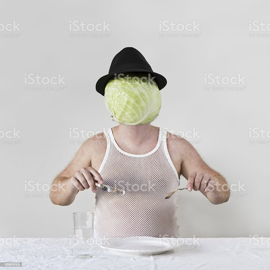 Cabbage Man with no Food royalty-free stock photo