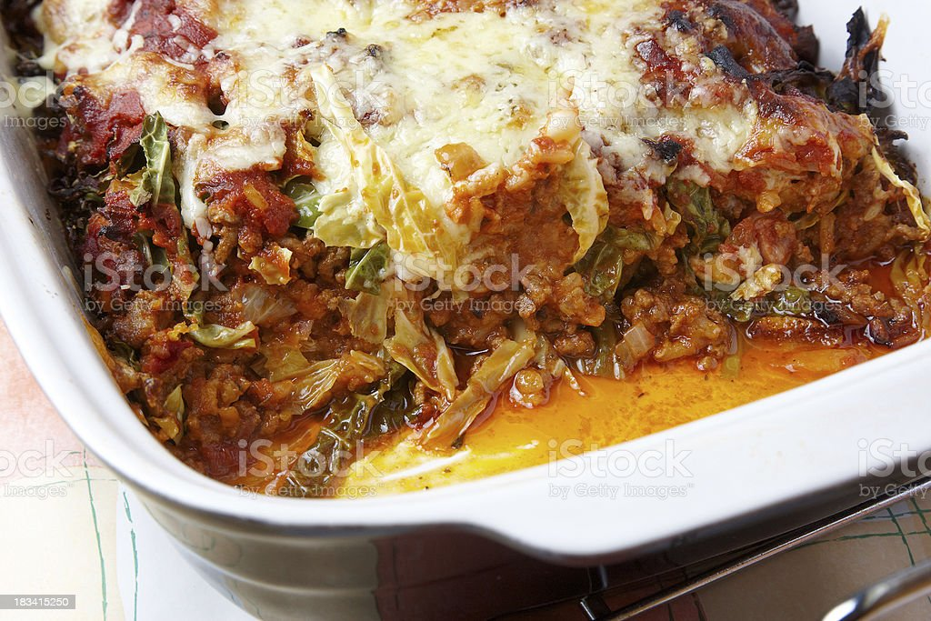 Cabbage Roll Casserole in baking dish stock photo