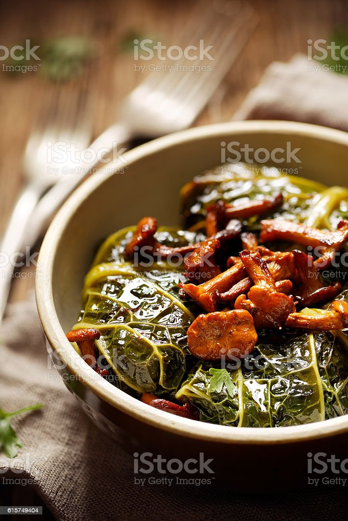 Cabbage rolls,  savoy cabbage stuffed with rice and mushrooms stock photo