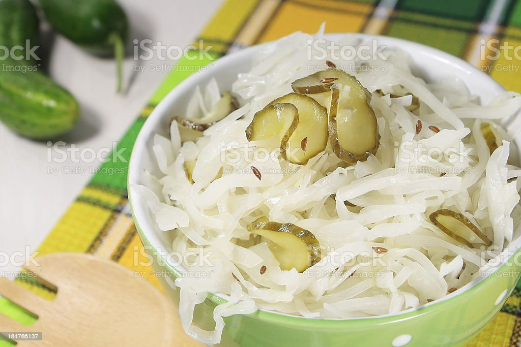 Cabbage salad with  cumin and cucumbers royalty-free stock photo