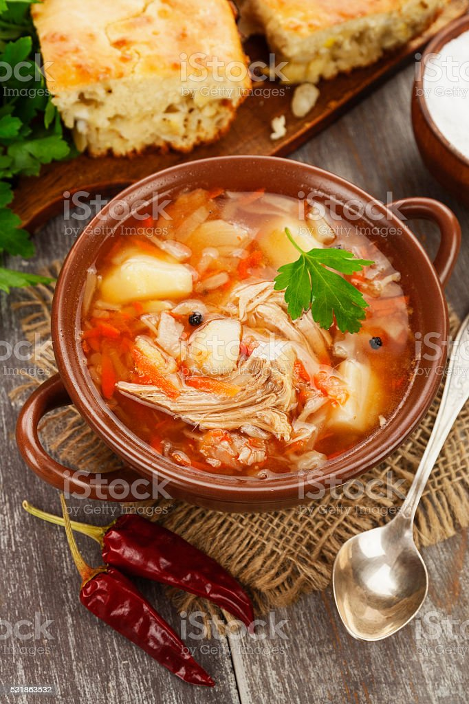 Cabbage soup and pie stock photo
