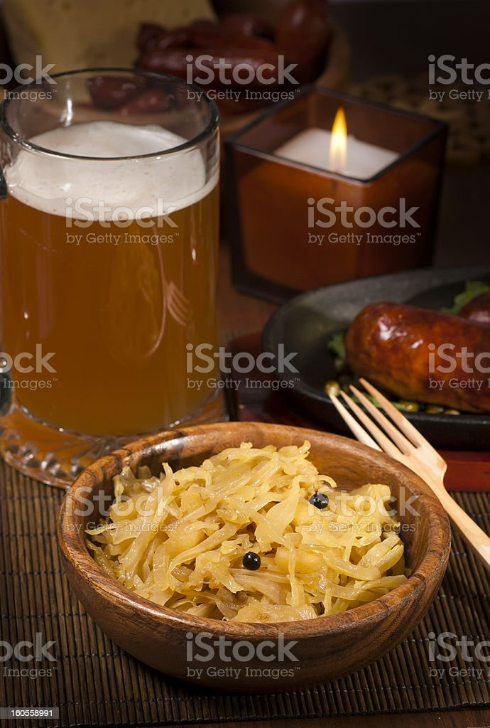 cabbage with beer and sausages royalty-free stock photo