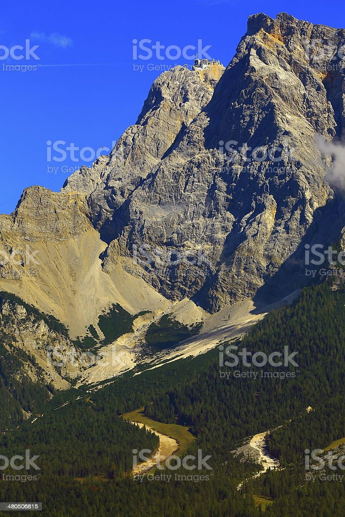 Cabel car Zugspitze mountain in Austria with Bavarian Alps, Germany stock photo