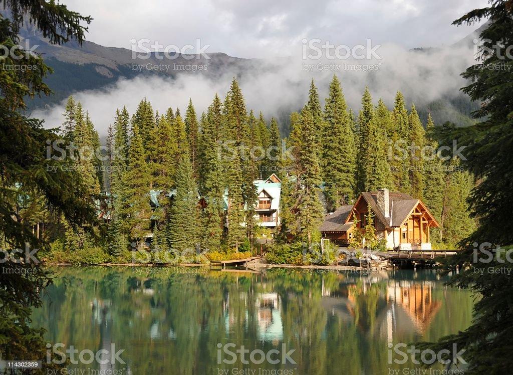 Cabin at Lake Emerald, Yoho National Park,British Columbia,Canada stock photo