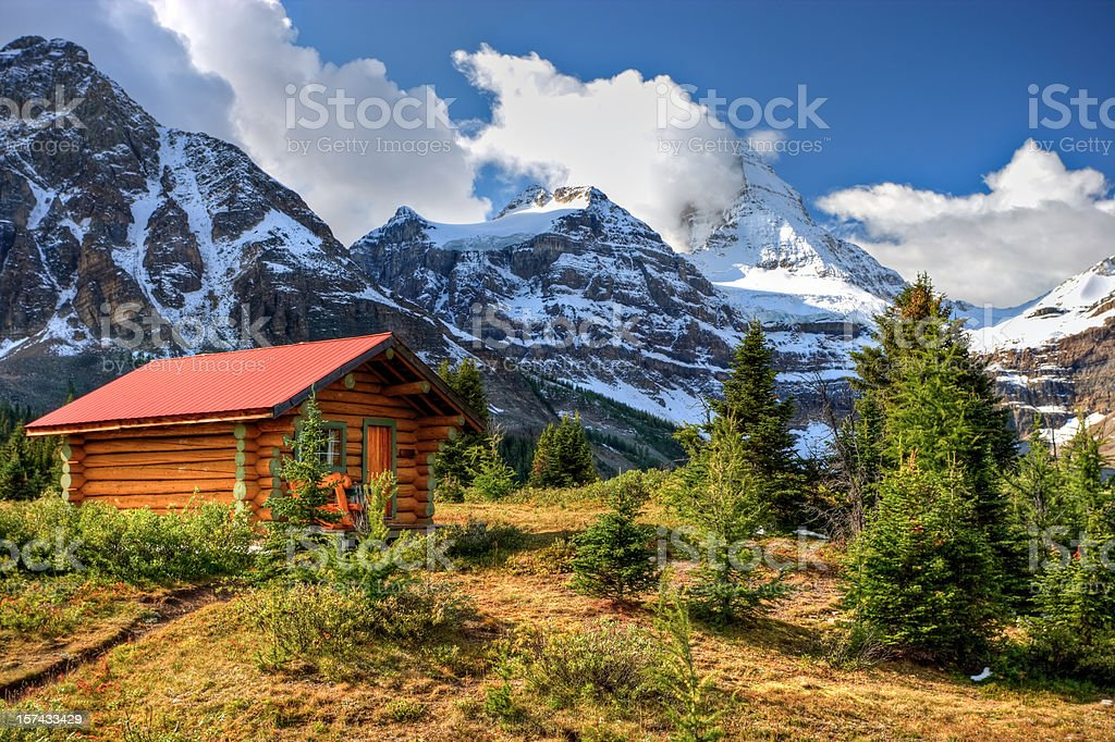Cabin at Mount Assiniboine royalty-free stock photo
