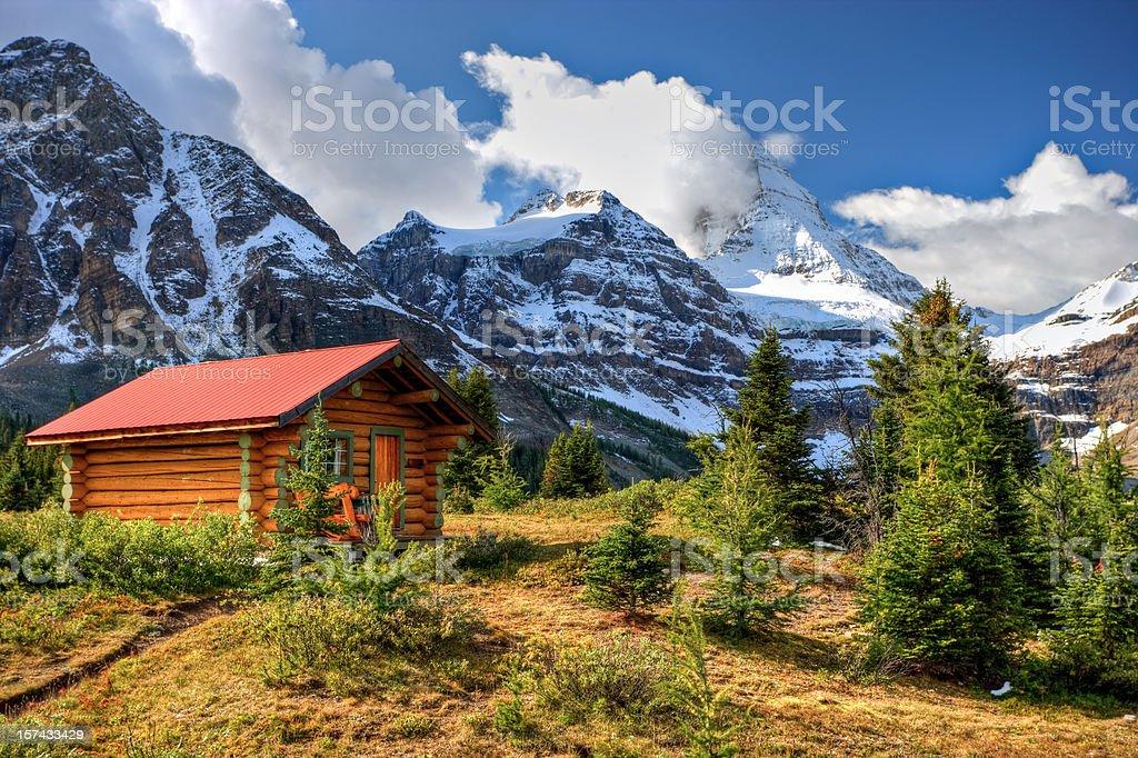 Cabin at Mount Assiniboine stock photo