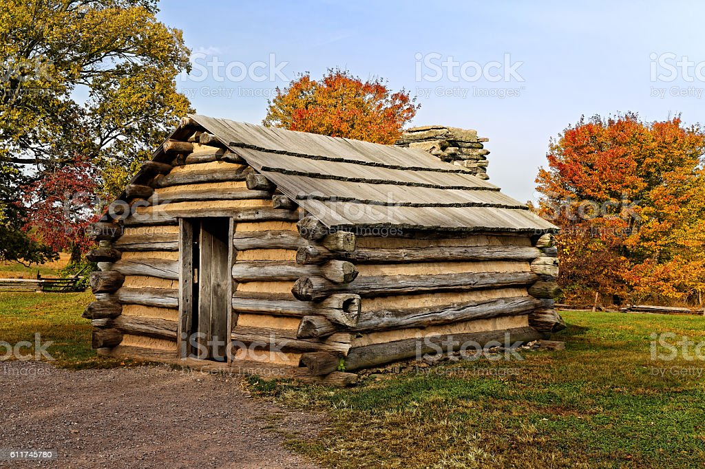Cabin at Valley Forge stock photo