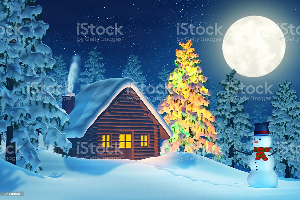 Cabin, Christmas tree and snowman in winter landscape at night royalty-free stock photo