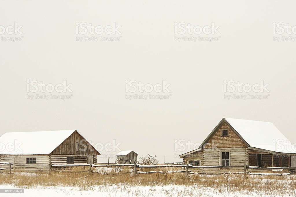 Cabin Farm Homestead Snowstorm royalty-free stock photo