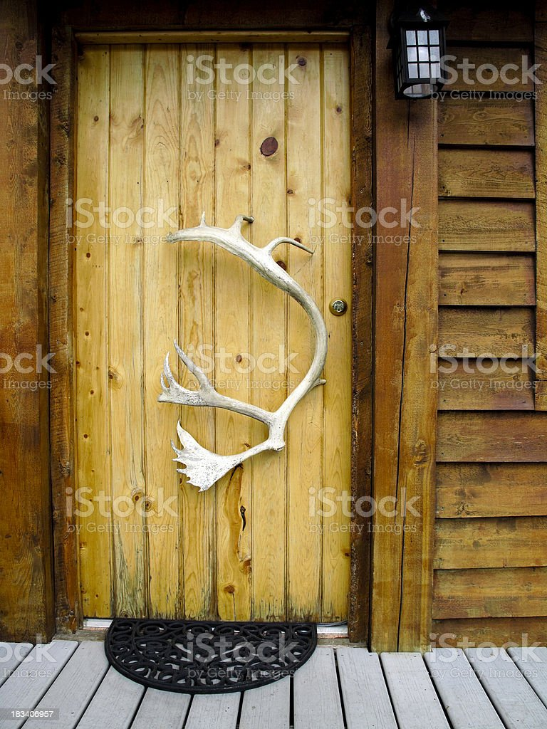 cabin front door stock photo