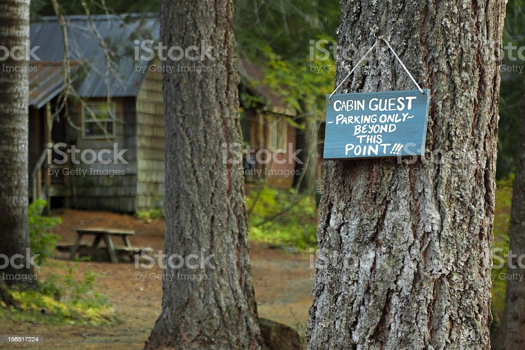 Cabin Guest Parking Only Sign royalty-free stock photo