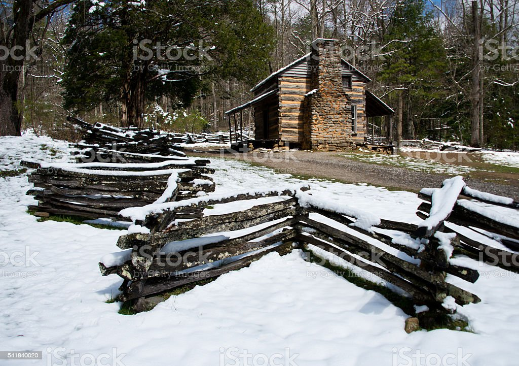 Cabin in Cade's Cove, Tennessee stock photo