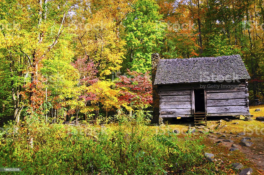Cabin in the Great Smoky Mountain National Park royalty-free stock photo
