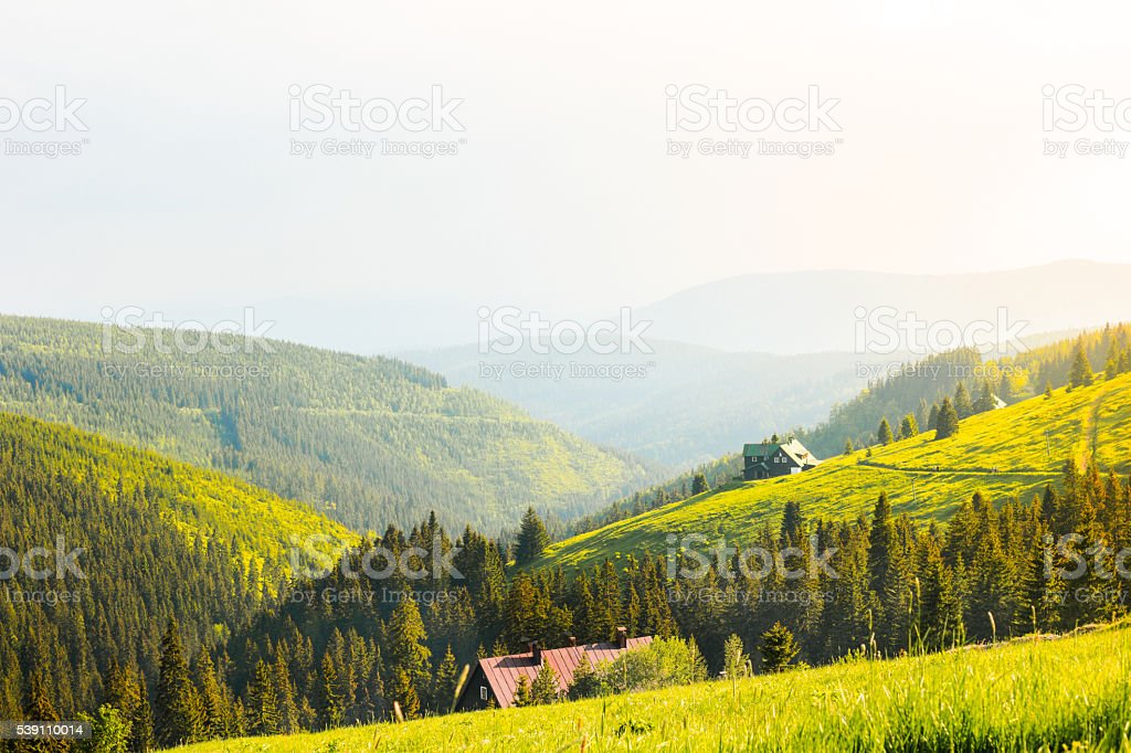Cabin in the Krkonose Mountain stock photo