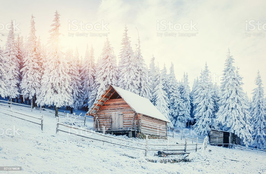 Cabin in the mountains in winter. Carpathian, Ukraine, Europe. stock photo