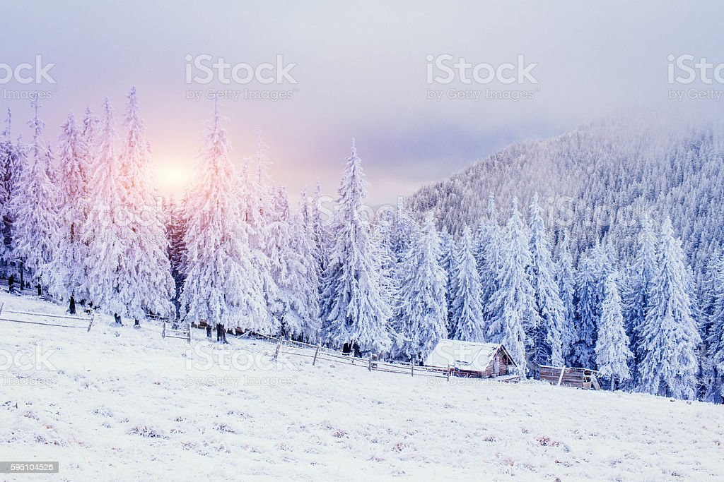 Cabin in the mountains in winter. Mysterious fog. stock photo