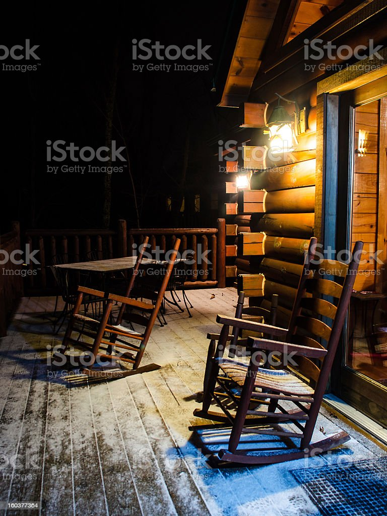 Cabin In The Night With Snow royalty-free stock photo