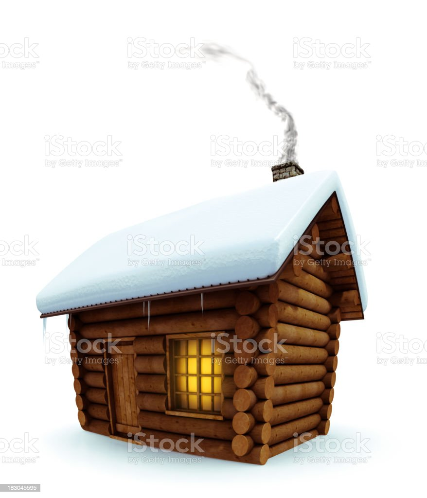 Cabin in the snow royalty-free stock photo