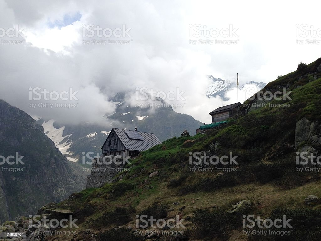 Cabin in the Swiss Alps stock photo