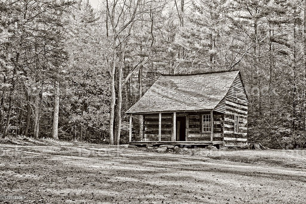 HDR Cabin in the Woods Black and White royalty-free stock photo